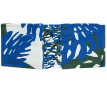 Macramé-trimmed printed bandeau bikini top
