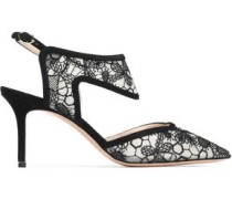 Suede-trimmed embroidered mesh pumps