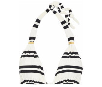 Embellished striped triangle bikini top