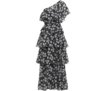 One-shoulder Floral-print Cotton Maxi Dress Black Size 0