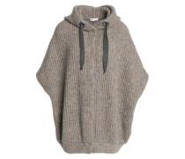 Bead-embellished marled ribbed-knit hooded cardigan