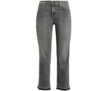 Cropped Distressed Mid-rise Bootcut Jeans Dark Gray  3