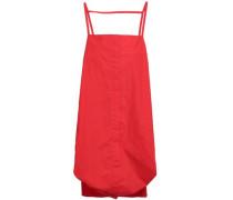 Open-back Gathered Cotton-blend Poplin Mini Dress Red