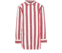 Striped Linen And Cotton-blend Shirt Tomato Red