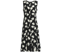 Asymmetric printed silk crepe de chine dress