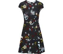 Darlina Fluted Floral-print Stretch-knit Mini Dress Black