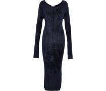 Ribbed Chenille Midi Dress Navy