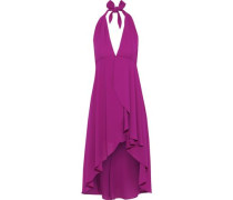 Asymmetric Crepe De Chine Halterneck Dress Magenta