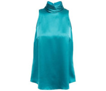 Woman Jazlyn Pleated Silk-charmeuse Turtleneck Top Teal