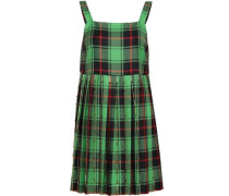 Woman Pleated Embellished Checked Wool Mini Dress Bright Green