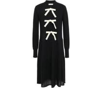 Bow-embellished Wool And Cashmere-blend Dress Black