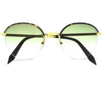 Windsor round-frame tortoiseshell acetate and gold-tone sunglasses