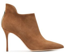 Woman Cutout Suede Ankle Boots Tan