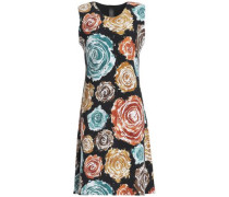 Fluted floral-print neoprene dress