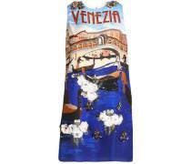 Paneled printed silk-crepe dress