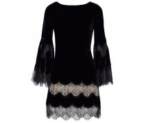 Lace-paneled velvet mini dress