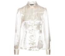 Textured-satin Shirt Cream