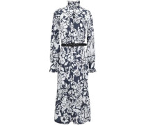 Floral-print Cotton-poplin Midi Dress Navy