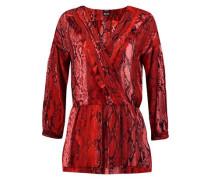 Ruffled snake-print chiffon wrap blouse