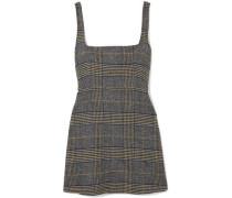 Cutout Checked Woven Mini Dress Dark Gray Size 14