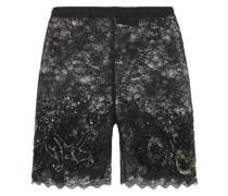 Embellished Stretch-lace Sorts Black