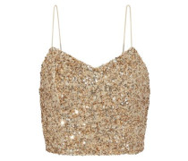 Archer cropped sequined tulle camisole