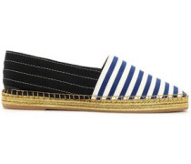 Two-tone striped grosgain espadrilles