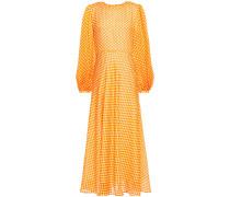Woman Fluted Polka-dot Silk Midi Dress Bright Orange