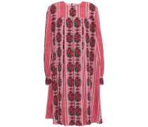 Pleated Printed Crepe Dress Antique Rose Size 12