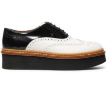 Perforated Two-tone Leather Platform Brogues White