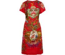 Printed Floral-jacquard Dress Red