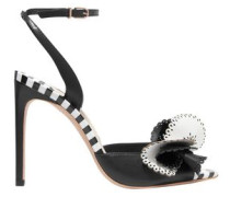 Soleil Laser-cut Ruffled Striped Leather Sandals Black