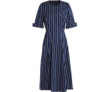 Fluted striped twill midi dress