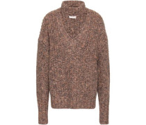 Cutout Marled Knitted Sweater Sand