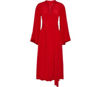 Wrap-effect Silk-crepe Midi Dress Crimson Size 12