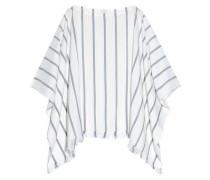 Draped striped silk blouse