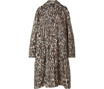 Oversized Leopard-print Faille Coat Black