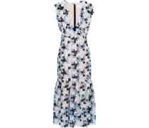 Fluted Guipure Lace Midi Dress Blue Size 12