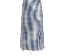 Button-detailed Checked Cotton-blend Tweed Midi Skirt Light Blue
