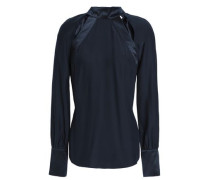 Cutout silk-satin blouse