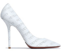 Perforated Leather Pumps White