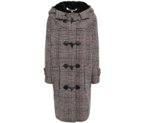 Faux Fur-trimmed Checked Wool-blend Hooded Coat Black
