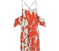 Cold-shoulder Ruffled Printed Silk Mini Dress Orange