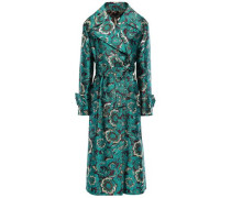 Double-breasted Brocade Coat Teal