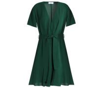 Wrap-effect belted silk mini dress