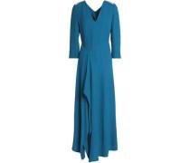 Cutout Draped Crepe-cloqué Maxi Dress Cobalt Blue Size 12
