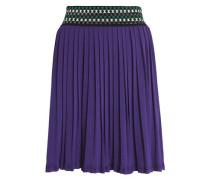 Pleated stretch-knit mini skirt