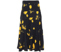 Woman Printed Crepe Midi Skirt Black