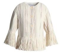 Fringe-trimmed bouclé-tweed jacket