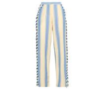 Kika Fringe-trimmed Striped Cotton-gauze Wide-leg Pants Sky Blue